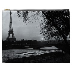 Vintage France Paris Eiffel tour & Seine at dusk 1970 Cosmetic Bag (XXXL)