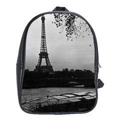 Vintage France Paris Eiffel tour & Seine at dusk 1970 School Bag (XL)