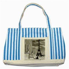 Vintage France Paris Eiffel tour Chaillot palace 1970 Blue Striped Tote Bag