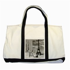 Vintage France Paris Eiffel tour Chaillot palace 1970 Two Toned Tote Bag