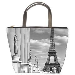 Vintage France Paris Eiffel Tour Chaillot Palace 1970 Bucket Handbag