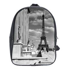 Vintage France Paris Eiffel tour Chaillot palace 1970 School Bag (XL)