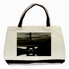 Vintage France Paris Eiffel Tower Reflection 1970 Twin Sided Black Tote Bag