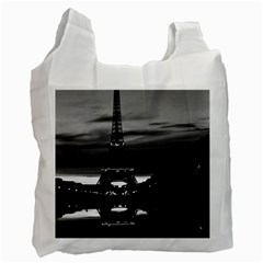 Vintage France Paris Eiffel tower reflection 1970 Twin-sided Reusable Shopping Bag