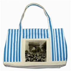 Vintage France Paris Triumphal arch 1970 Blue Striped Tote Bag