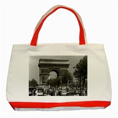 Vintage France Paris Triumphal arch 1970 Red Tote Bag