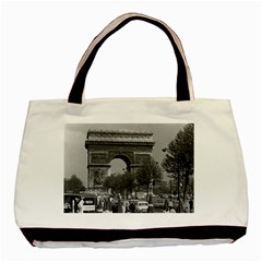 Vintage France Paris Triumphal arch 1970 Twin-sided Black Tote Bag