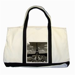 Vintage France Paris Fontain Chaillot Tour Eiffel 1970 Two Toned Tote Bag