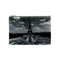 Vintage France Paris Fontain Chaillot Tour Eiffel 1970 Medium Makeup Purse