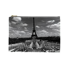 Vintage France Paris Fontain Chaillot Tour Eiffel 1970 Large Makeup Purse