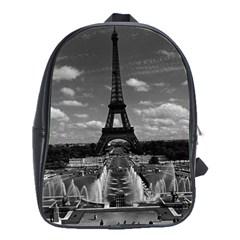 Vintage France Paris Fontain Chaillot Tour Eiffel 1970 Large School Backpack