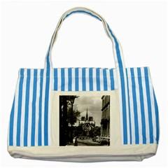 Vintage France Paris Notre Dame Saint Louis Island 1970 Blue Striped Tote Bag