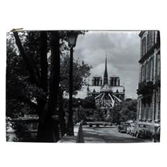 Vintage France Paris Notre Dame Saint Louis Island 1970 Cosmetic Bag (xxl)