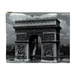 Vintage France Paris Triumphal Arch  Place De L etoile Extra Large Makeup Purse