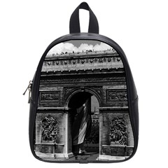 Vintage France Paris Triumphal Arch  Place De L etoile Small School Backpack