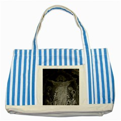 Vintage France Paris Sacre Coeur Basilica dome Jesus Blue Striped Tote Bag