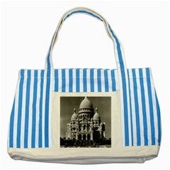 Vintage France Paris The Sacre Coeur Basilica 1970 Blue Striped Tote Bag