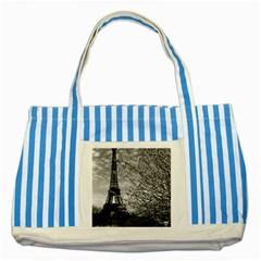 Vintage France Paris Eiffel tour 1970 Blue Striped Tote Bag