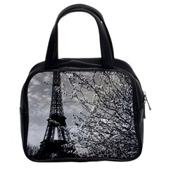 Vintage France Paris Eiffel Tour 1970 Twin Sided Satchel Handbag