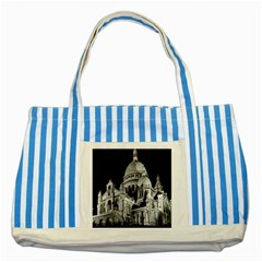 Vintage France Paris The Sacre Coeur Basilica 1970 Blue Striped Tote Bag