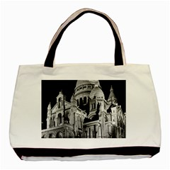 Vintage France Paris The Sacre Coeur Basilica 1970 Twin-sided Black Tote Bag