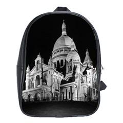 Vintage France Paris The Sacre Coeur Basilica 1970 School Bag (XL)