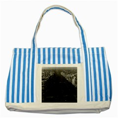 Vintage France Paris champs elysees avenue 1970 Blue Striped Tote Bag