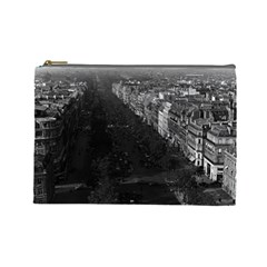 Vintage France Paris champs elysees avenue 1970 Large Makeup Purse