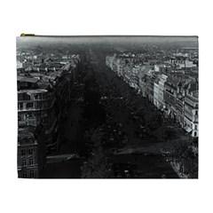 Vintage France Paris champs elysees avenue 1970 Extra Large Makeup Purse