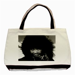 Vintage Usa Alaska Eskimo Child 1970 Black Tote Bag