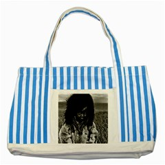 Vintage USA  Alaska eskimo boy 1970 Blue Striped Tote Bag