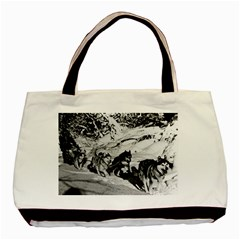 Vintage USA Alaska dog sled racing 1970 Twin-sided Black Tote Bag
