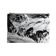 Vintage Usa Alaska Dog Sled Racing 1970 Large Makeup Purse