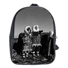 Vintage Fur clad eskimos of arctic alaska bu sod igloo Large School Backpack