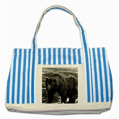 Vintage Usa Alaska Brown Bear 1970 Blue Striped Tote Bag