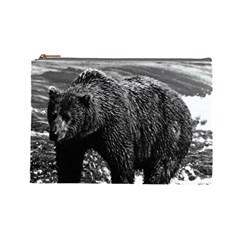 Vintage Usa Alaska Brown Bear 1970 Large Makeup Purse