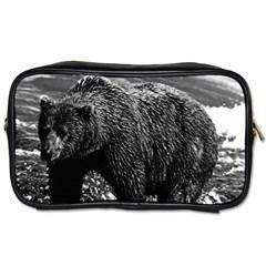 Vintage Usa Alaska Brown Bear 1970 Twin Sided Personal Care Bag