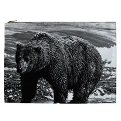 Vintage Usa Alaska Brown Bear 1970 Cosmetic Bag (xxl)
