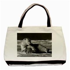 Vintage Usa Alaska Mother Polar Bear 1970 Twin Sided Black Tote Bag