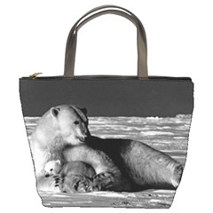 Vintage Usa Alaska Mother Polar Bear 1970 Bucket Handbag