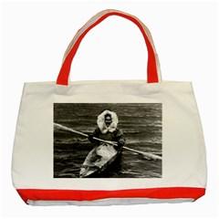 Vintage Usa Alaska Eskimo And His Kayak 1970 Red Tote Bag