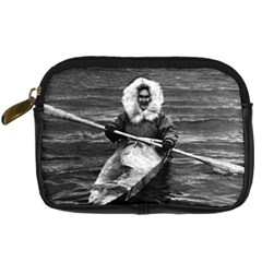 Vintage USA Alaska eskimo and his kayak 1970 Compact Camera Case