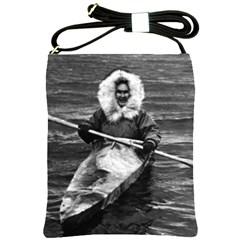 Vintage USA Alaska eskimo and his kayak 1970 Cross Shoulder Sling Bag