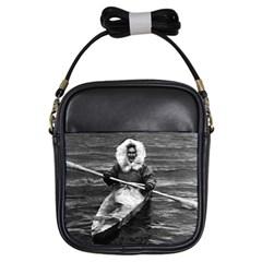 Vintage Usa Alaska Eskimo And His Kayak 1970 Kids  Sling Bag