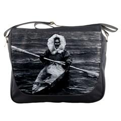 Vintage USA Alaska eskimo and his kayak 1970 Messenger Bag