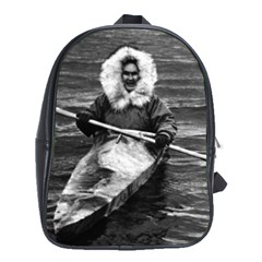 Vintage USA Alaska eskimo and his kayak 1970 School Bag (XL)
