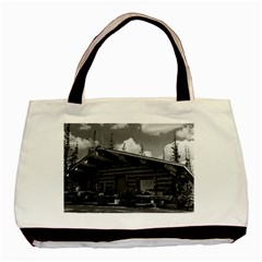 Vintage Usa Alaska Modern Alaskan Log Cabin 1970 Twin Sided Black Tote Bag
