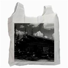 Vintage USA Alaska Modern alaskan log cabin 1970 Twin-sided Reusable Shopping Bag