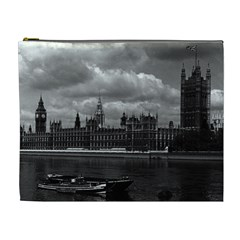 Vintage Uk England London The Houses Of Parliament 1970 Extra Large Makeup Purse