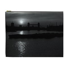 Vintage UK England London sun sets Tower Bridge 1970 Extra Large Makeup Purse